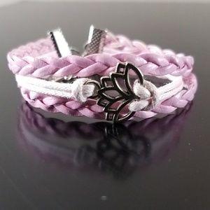 Handmade Pink Braid Bracelet Silver Lotus Charm